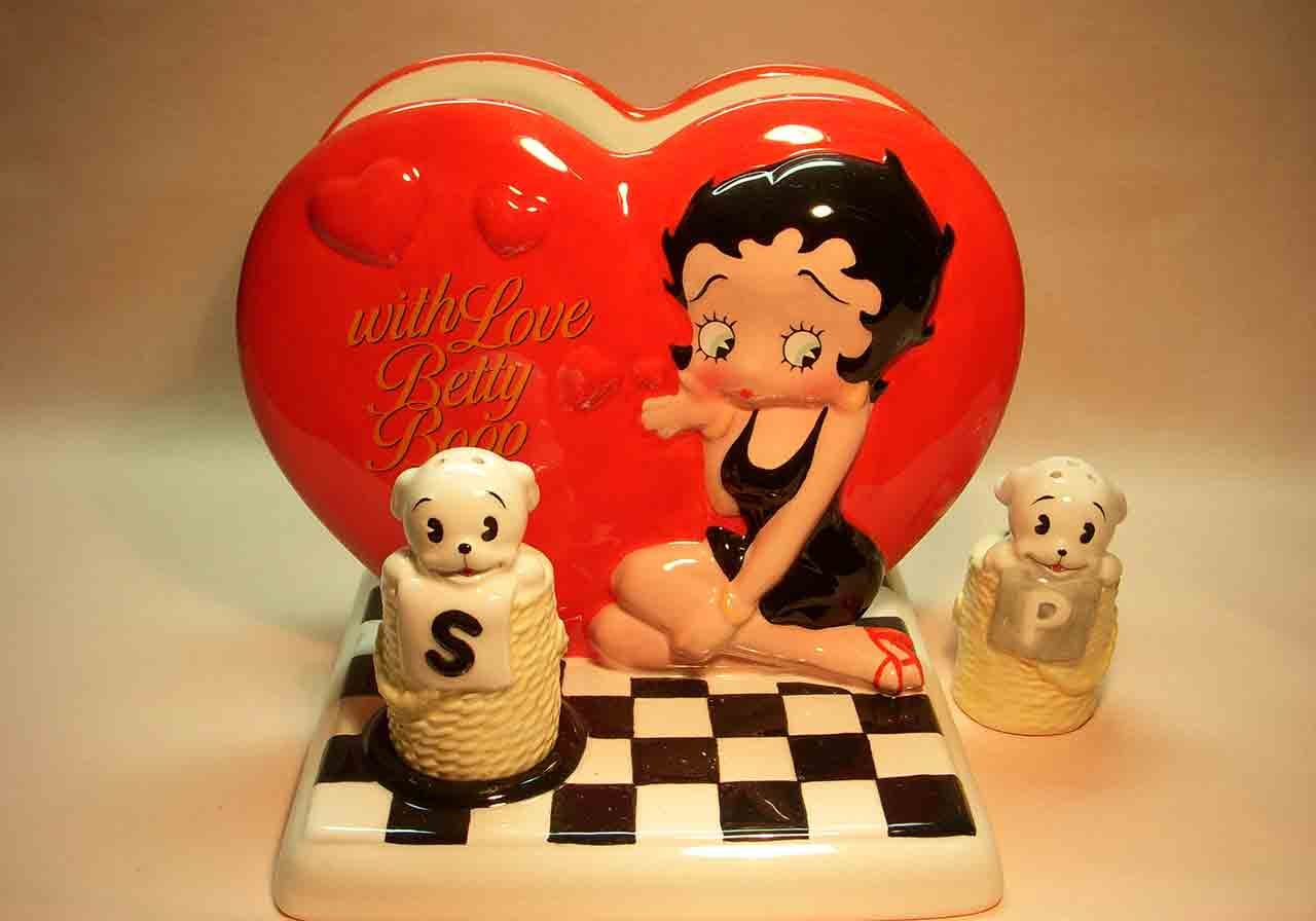 Betty Boop napkin holder and Pudgy the dog salt and pepper shaker