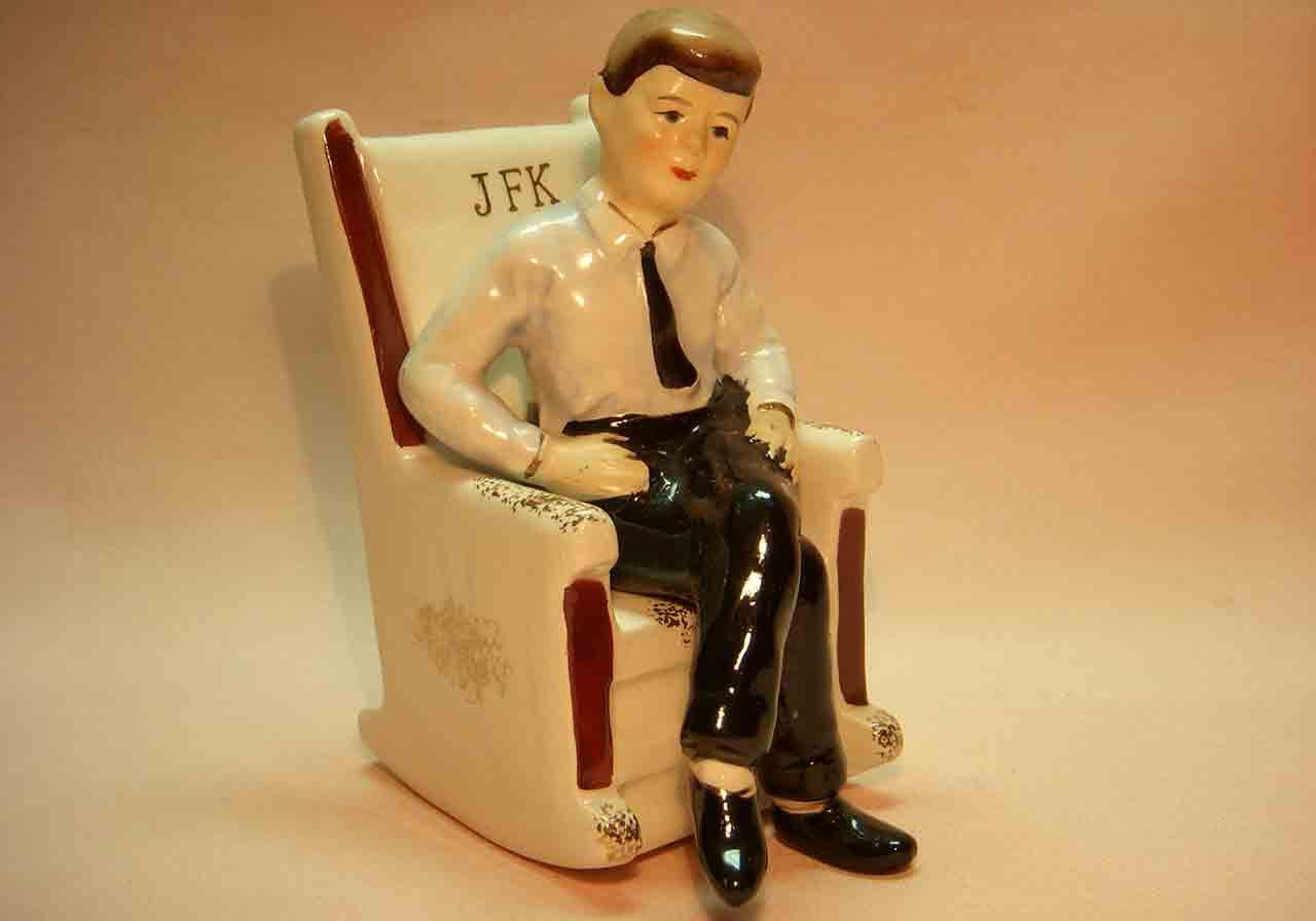 President John F. Kennedy in rocking chair salt and pepper shaker